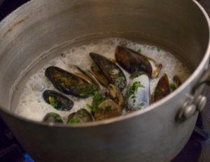 A stew of clams and mussels cooking in a pot of simmering garlic cream.