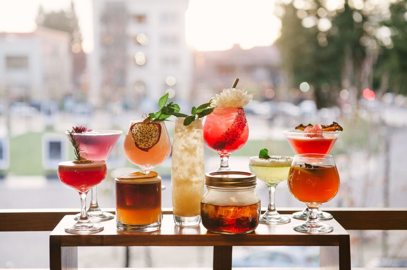 A group of cocktails overlooking downtown santa rosa