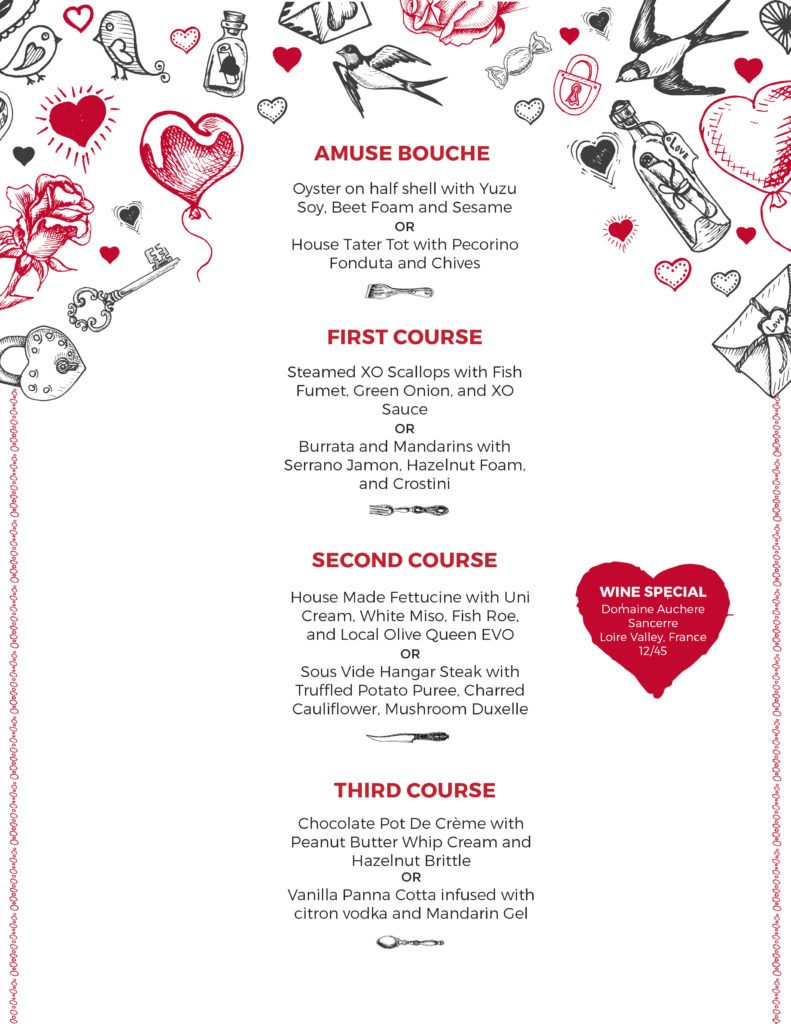 valentine u0026 39 s day weekend special menu