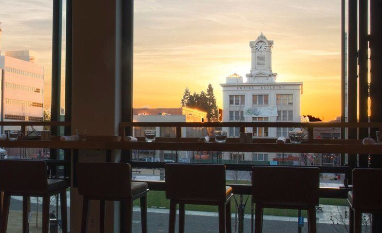 view of courthouse square santa rosa from perch and plow restaurant
